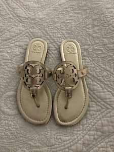 Tory Burch MILLER Spark Gold Leather Sandal Women Size 4 New