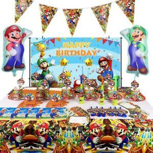 Super Mario Luigi Birthday Party Supplies Plates Tablecloth Balloons Decorations