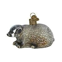 Old World Christmas Vintage Inspired Badger Holiday Ornament Glass