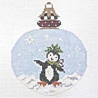 Needlepoint Handpainted KELLY CLARK Christmas Dancing Penguin Ornament