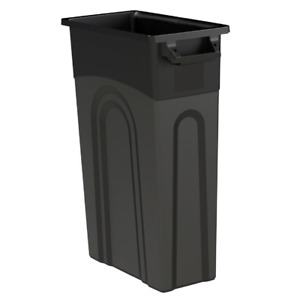 Trash Can 23 Gallon Black Highboy Heavy Duty Waste Container Slim Space Saving