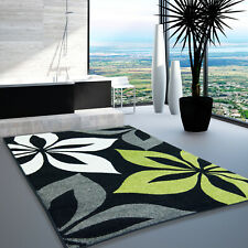 Boston Collection Floral Indoor Europe Area Rug Carpet Black Green FWR1237