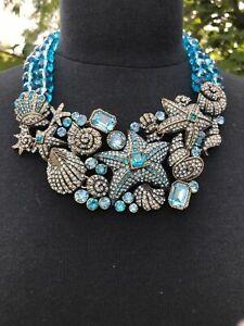 Heidi Daus Seashore Chic Swarovski Crystal Beaded Drop Necklace AQUA