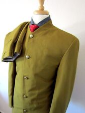 (40R) Falcone Collarless Two Piece Fancy Suit Dark Yellow 5 buttons