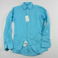 NWT Current Eton Light Blue Button Up Long Sleeve Slim Fit Dress Shirt Sz 15 S