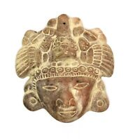 Vintage Pre-Columbian Pottery Priest Wall Hanging Mask Aztec Mexican Terracotta