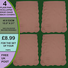 NEW Pack of 4 Plain Coral Pink Backs Covers Protectors Seat Antimacassar P40P4
