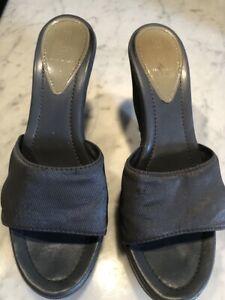 FENDI gray  mules