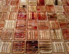 "200 1/4"" Ribbed Glass Iridescent Mosaic Tile Beveled Edge Amber Orange Red Brown"
