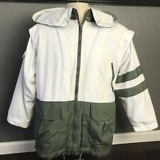 MENS CLOTHING VINTAGE MULBERRY RUSSIA FIELD JACKET ZIPPER SMALL WHITE GREEN HOOD