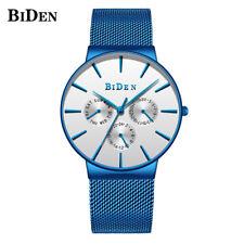 BIDEN Mens Japan Quartz Watches Stainless Steel Band Calendar Watch Waterproof