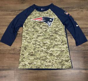 Nike NFL New England Patriots Camo Salute to Service 3/4 Sleeve Tee, Medium