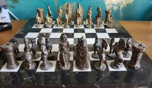 Chess set metal pieces with solid marble chess board