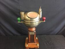 Antique Sestrel Brass Binnacle, Gimbal Marine Compass w/ Wooden Ship Stand& Lamp