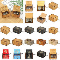 Retro Wooden Music Box Hand Crank Engrave Musical Case Toy Kids Birthday Gifts