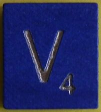 Scrabble Tiles Replacement Letter V Blue Wooden Craft Game Part Piece 50th Ann.