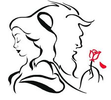 Decal Vinyl Truck Car Laptop Sticker - Disney Beauty And The Beast W/ Red Rose