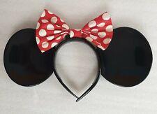 Tokyo Disney Resort Limited Black Minnie Mouse Ears + Red Polka Dot Bow Genuine