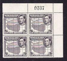 SOMALILAND 1938 5r BLACK IN CORNER BLOCK SG 104 MNH.