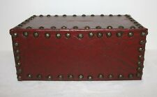 VTG Leather Covered Wooden Box Bank Medieval Style Primitive OOAK