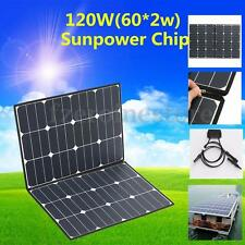 120W Portable Foldable Solar Panel Battery Charger For Camping Boat Caravan Home