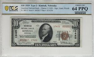 1929 T2 $10 AMERICAN NATIONAL BANKNOTE KIMBALL NEBRASKA PCGS B CHOICE UNC 64 PPQ