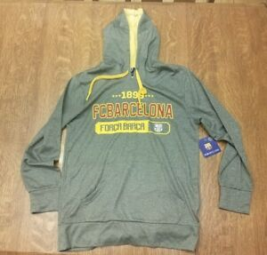 FC BARCELONA GRAY YELLOW HOODIE SWEATSHIRT MESSI SIZE SMALL  FORCA BARCA FCB NWT