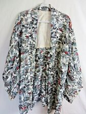 Vintage Japanese Kimono Dressing Robe Multi Color Print  Lightweight #7816