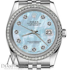 36mm Rolex Datejust Stainless Steel Jubilee Baby Blue MOP Diamond Dial & Bezel