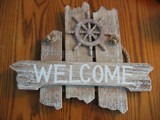 White washed Beach Wood WELCOME Sign w/ Ship's Wheel-  Great Nautical Sign