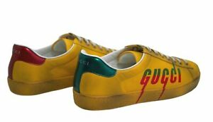 GUCCI Men's Yellow Ace sneaker with Gucci Blade