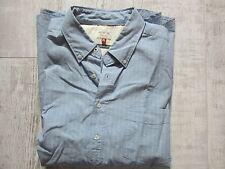 NEXT Men's Soft Cotton Short Sleeved LAUNDERED Shirt DENIM Blue Size XLARGE New
