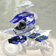 S UV protective Youth Kid DOT Blue Flame Dirt Bike ATV Helmet + Goggles Gloves