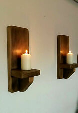 Pair of Rustic Reclaimed Solid Wooden Candle Holder Sconce