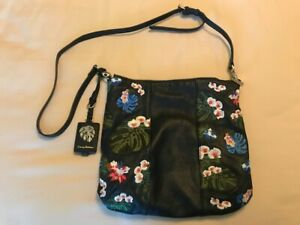 Tommy Bahama Leather Embroidered Floral Crossbody Bag  MSRP $198 NWT