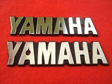 2 x YAMAHA Classic Street Retro Emblem Badge SILVER Fuel Tank