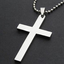 NEW Plain Cross Pendant Charm Silver Stainless Steel Necklace Chain Jewelry Gift
