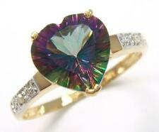 SYJEWELLERY 9CT YELLOW GOLD HEART NATURAL MYSTIC TOPAZ & DIAMOND RING SZ N R1287