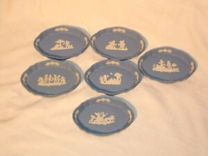 COLLECTION JOB LOT OF 6 WEDGWOOD BLUE JASPER WARE PIECES PIN DISH