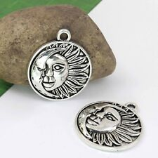 6 Sun and Moon Face Charms, Antique Silver Celestial Charm Set Lot 29x25mm