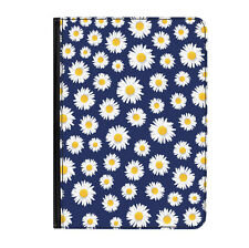"""Daisies Blue Flowers Pattern Universal Tablet 9-10.1"""" Leather Flip Case Cover"""