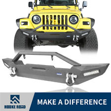 Hooke Road Front Bumper w/ LED Lights & D-Ring for Jeep Wrangler TJ YJ 1987-2006