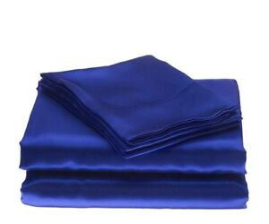 600 TC Satin Silk Egyptian Blue Choose Size Bedding Item-Sheet Set Fitted/Flat