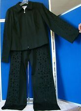EUC Unique RIBKOFF TRENDS Black PANT SUIT Sz 8-10 w.FABULOUS CutWork & BEADS