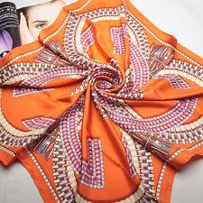 "35"" 100% Twill Heavy Silk Scarf Square Women Neck Shawl Wrap orange 202-027"