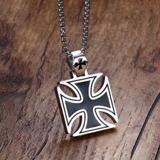 Mens Necklace Stainless Steel Knights Templar Pendant Biker Maltese Cross Chain