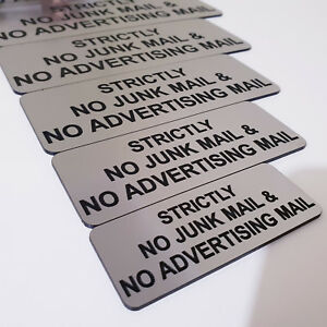 Strictly No Junk Mail & No Advertising Mail Sign Plaque Outdoor Rated Adhesive