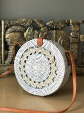 Authentic Bali Rattan Roundie White Weaved Pattern Sling Bag 20cm