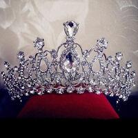Damen Hochzeit Diadem Kristall Tiara Braut Krone Haarband Partei Haarreifen E0B6