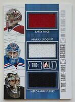 2014 ITG Used Decades Price-Lundqvist-Fleury Triple Jersey Card